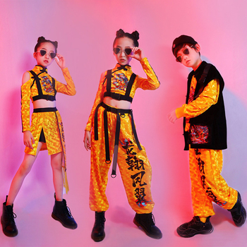 Hip Hop Jazz Costume Boys Black Vest Long Sleeves Tops Girls Pants Yellow Suit Festival Performance Outfits Rave Stage Wear 2415 - sale item Stage & Dance Wear
