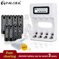 PALO Smart LCD Display USB Battery Charger For Ni-Cd Ni-Mh AA AAA Rechargeable Batteries+4pcs AA Batteries+4pcs AAA Batteries