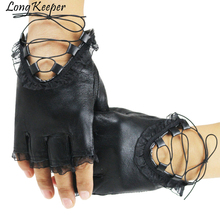 Punk Cool Women Half Finger Gloves Lady Sexy Disco Dance Costume Lace Fingerless Gloves Driving Gloves Genuine Leather Mittens