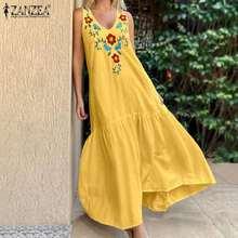 ZANZEA 2021 Casual Floral Ruffles Vestidos Bohemian Embroidery Dress Women Summer Sundress Female O Neck Tank Kaftan Plus Size