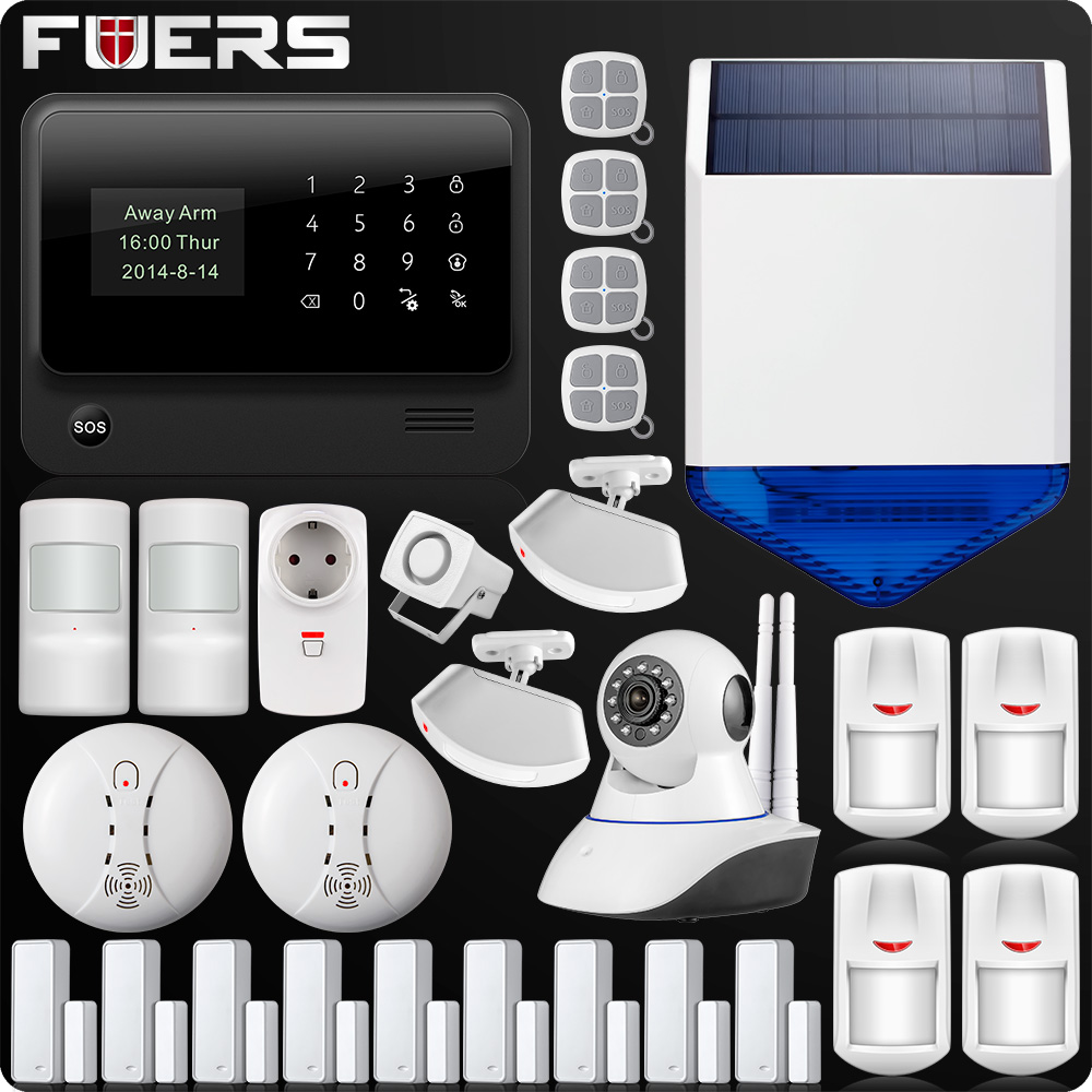 G90B Plus Wireless WiFi GSM GPRS SMS Home Security Alarm System LCD ISO Android App Control Flash siren-in Alarm System Kits from Security & Protection