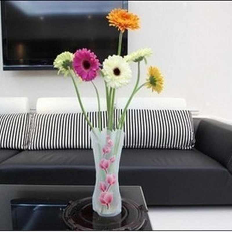 1 pc/3 個ポータブル環境にやさしい花かわいい折りたたみ花瓶結婚式のオフィス家の装飾ランダム Pvc プラスチック花瓶