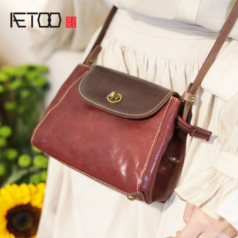 AETOO Summer leather retro sen slanted bag, flip-top hundred set of soft leather hit color small bag, shell girl bag