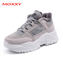 2019 New Fashion Snow Boots With Warm Fur Plush Ladies Winter Boots Platform Round Toe Comfort Lace Up Blue Grey Chunky Sneakers все цены