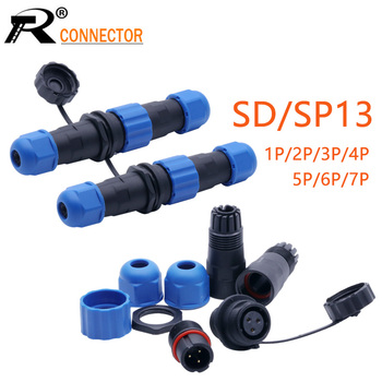1set Waterproof Aviation Connector SP13/SD13 IP68 cable connector plug & socket Male and Female 1 2 3 4 5 6 7 Pin image