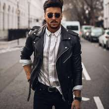 chaqueta de cuero desgastado con Motor para hombre, ropa de vestir, Estilo Vintage, para otoño, 2021