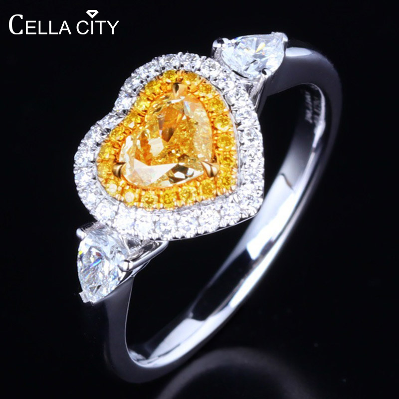 Cellacity Heart Shaped Silver 925 Jewelry Gemstones Ring For Women Yellow AAA Zircon Trendy Sweet Gift Female Engagement Rings