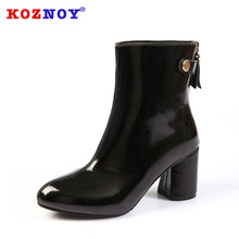 Koznoy Fall Winter New High-heeled Short Boots Dropshipping Women  Round-headed Patent Leather Fashion Thick-heeled Female