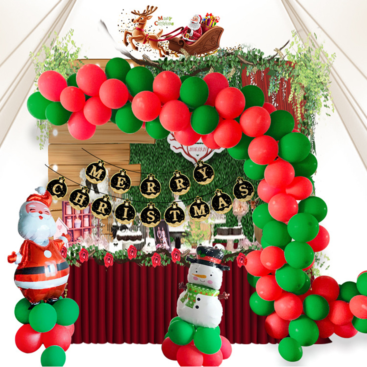 Christmas Party Supplies Snowman & Santa Claus Balloons Merry Christmas Banner Latex Balloons For Home Office Party Decor