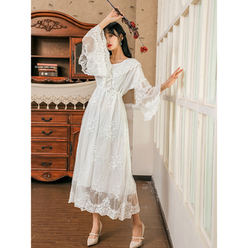 Women Nightdress NEW Lace Temperament Fairy Dress Princess White Sleeping Long Dress YHC04