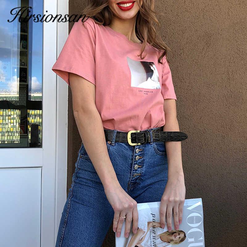 Hirsionsan Gedrukte T-shirt Vrouwen Zomer Hot O Neck T-shirts Koreaanse Esthetische Katoen Tees Voor Dames Ins Comfortabele Vrouwelijke Tops