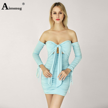 Aimsnug Sexy Solid color Light Blue Strapless Backless Lace-up Long Sleeve pleated Fold 2019 Fashion New Autumn Womens Dress