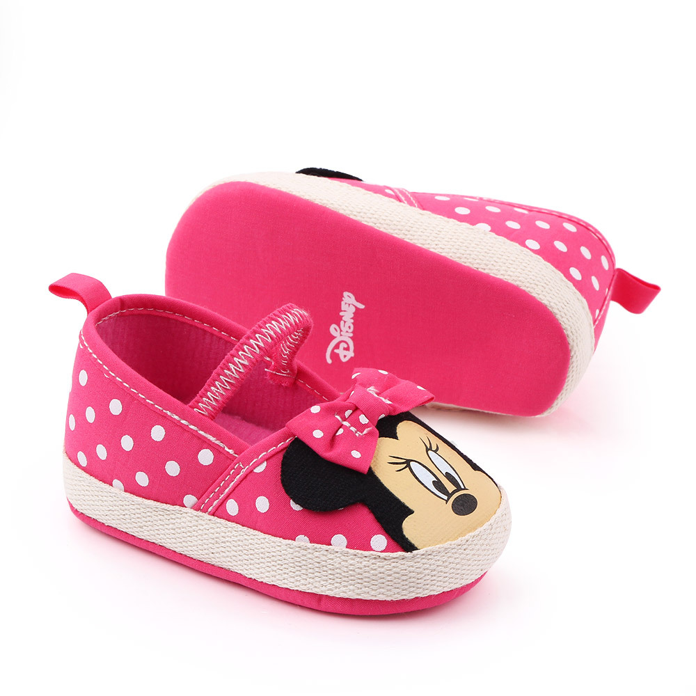 Disney Minnie Mouse Spring And Summer New 0-1 Female Baby Crib Shoes Soft Bottom Cartoon Princess Baby Girls  Toddler Shoes