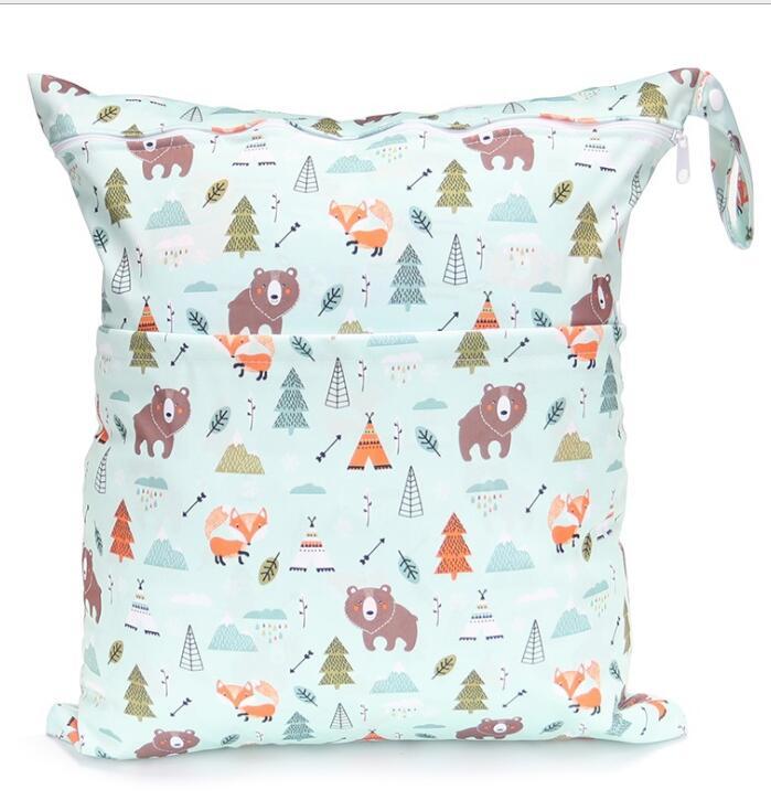 [Sigzagor] 1 Влажная сухая сумка с двумя молниями для детских подгузников, водонепроницаемая сумка для подгузников, розничная и, 36 см x 29 см, на выбор 1000 - Цвет: W127