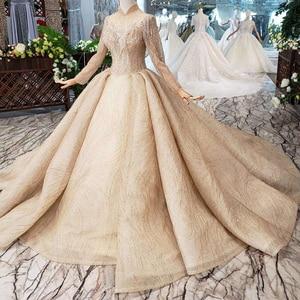 Image 3 - BGW HT5625 فساتين زفاف طويلة الأكمام الشمبانيا عالية الرقبة مطرز فساتين زفاف الكرة ثوب ثقب المفتاح الخلفي ثوب زفاف