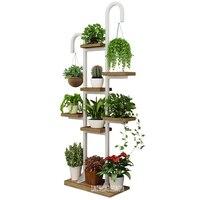 7895 Multi Layer FloorType Wood Flower Rack Wood Plant Shelf Pergola Chipboard Steel Frame Balcony Flowerpot Holder With Hook