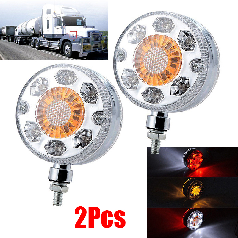 2pcs Car Truck Round LED Side Marker Turn Signal Light 24V 24-LED Double Face Turn Signal Brake Fender Lamp Side Marker Light