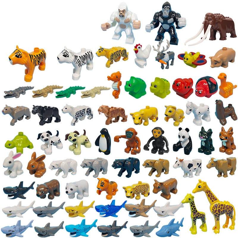 Animals dinosaurs zoo bear Giraffe cow rhinoceros Tiger brick building blocks