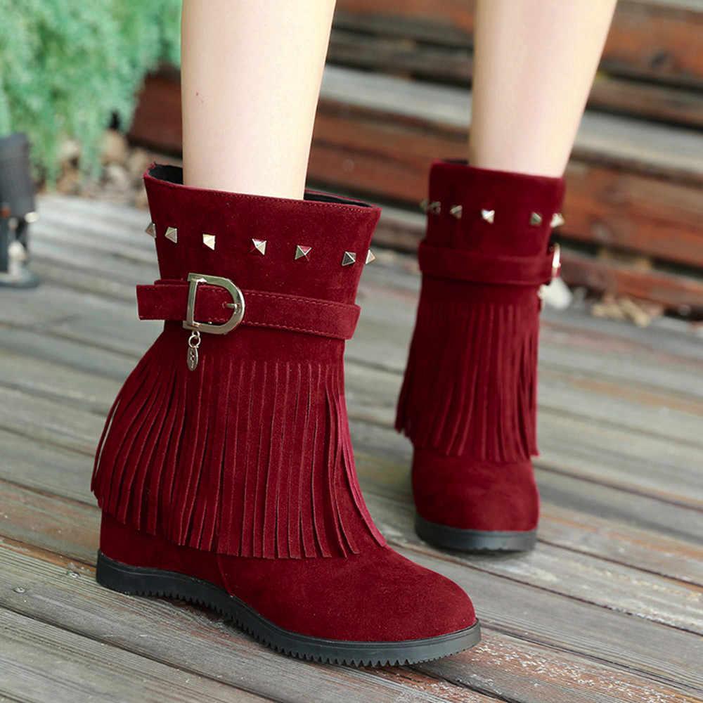 Plataforma cunha salto borla sapatos femininos plataforma aumentada moda botas casuais bota feminina salto alto para haste # a3