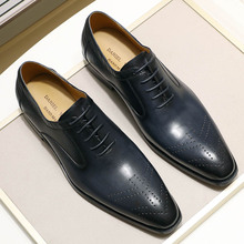 2020 New Genuine Leather Mens Dress Shoes Handmade Office Business Wedding Blue Black Luxury Lace Up Formal Oxfords Mens Shoes