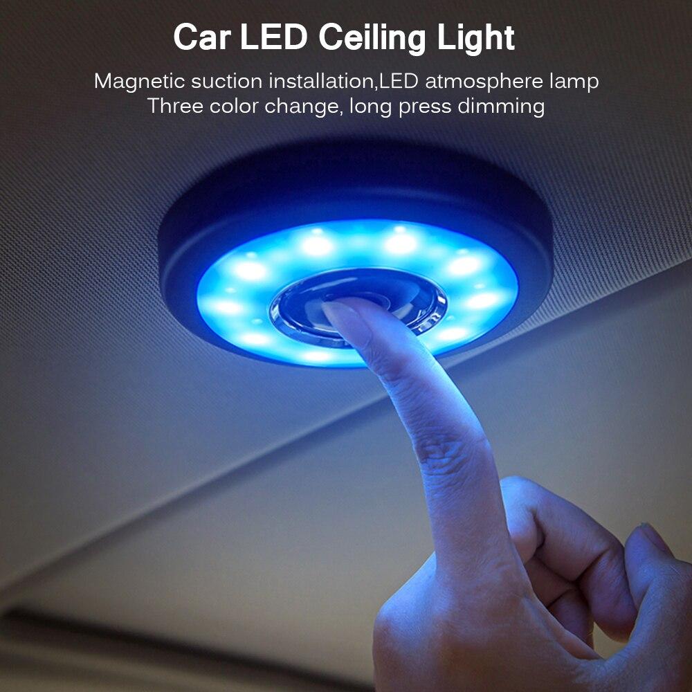 Светодиодный светильник для чтения интерьера автомобиля, USB зарядка, магнит на крышу, дневный светильник для багажника, квадратный купол, потолочный светильник для дома