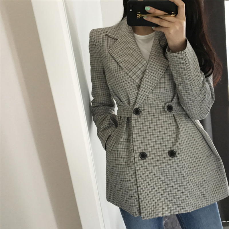Vintage Double-breasted Women's Blazer Elegant Women Suit Jacket Autumn Plaid Blazer Female Office Ladies Long Sleeve Outerwear
