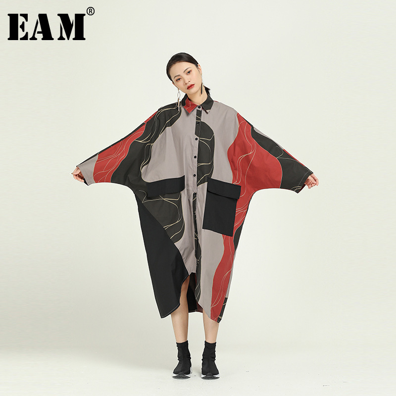 [EAM] Women Pattern Print Asymmetrical Big Size Shirt  Dress New Lapel  Long Sleeve Loose Fit Fashion Spring Autumn 2020 1R090