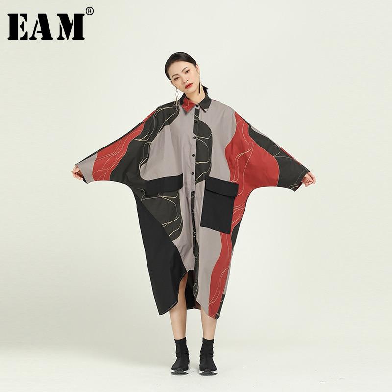 [EAM] Women Pattern Print Asymmetrical Big Size Shirt  Dress New Lapel  Long Sleeve Loose Fit Fashion Spring Autumn 2020 1R090
