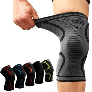 Image 1 - 1PCS Fitness Laufen Radfahren Knie Unterstützung Hosenträger Elastischen Nylon Sport Compression Knie Pad Hülse für Basketball Volleyball