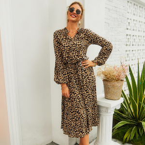 Image 1 - New Arrival Midi Womens Leopard Dress Long Sleeve Fashion A Line V Neck High Waist Boho Summer Dresses Casual Bohemian Vestidos
