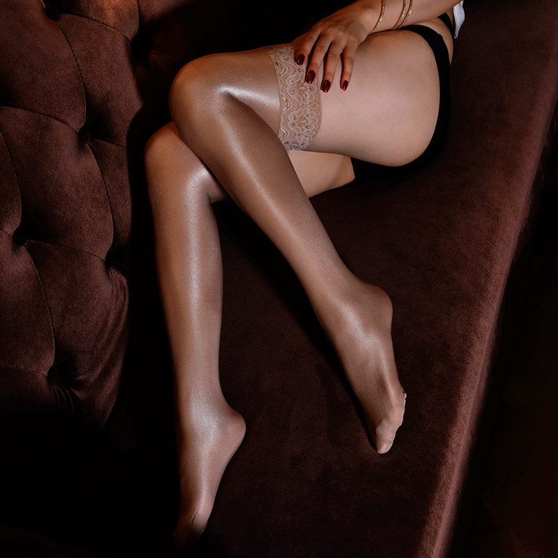 Sexy femmes 70D Schobbin dentelle huileuse réfléchissant bas sur le genou haut Tube Sexy Medias De Mujer cuisse haut bas