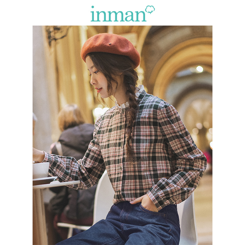 INMAN Spring Autumn Lace Stand up Collar Casual Long Sleeve Retro Slim Plaid Literary Women Blouse