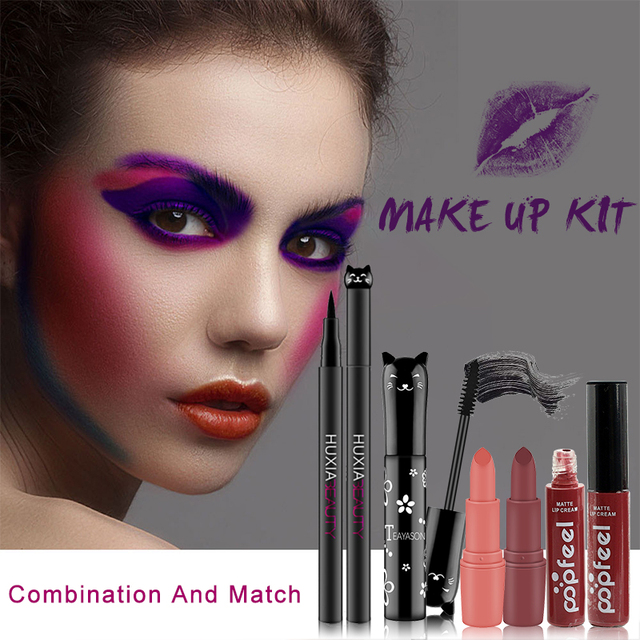 4pcs/set Cat Makeup Sets Including Lipstick, Eyeliner,Mascara, Eyeshadow, Makeup Kit Women Cosmetics Bag for Gifts 1