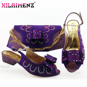 Image 2 - Red High Quality African Woman Sandals Shoes With Purse Set Italian Elegant High Heels Shoes And Bag Set For Wedding Party