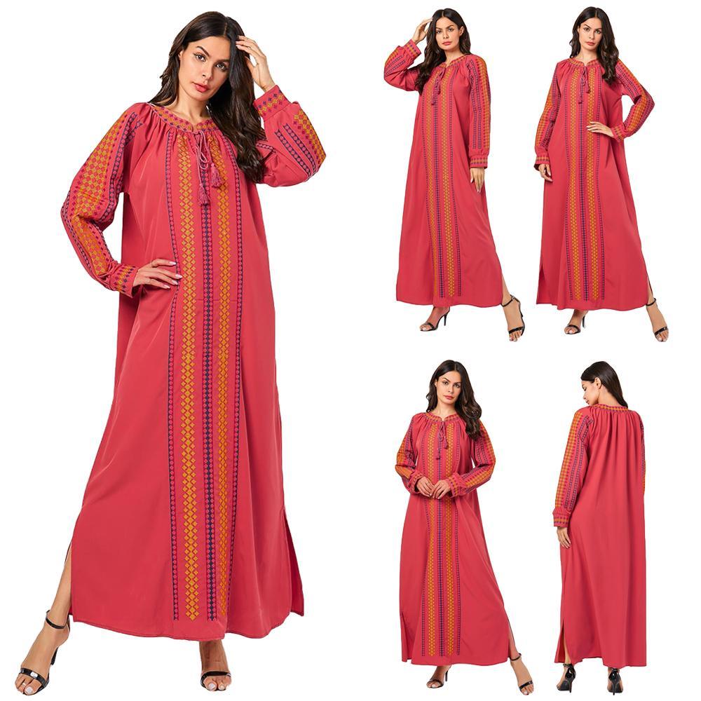 Abaya femmes musulmanes à manches longues Maxi Robe islamique lâche Robe Jilbab caftan arabe Robe lâche ethnique broderie dubaï Robe de mode