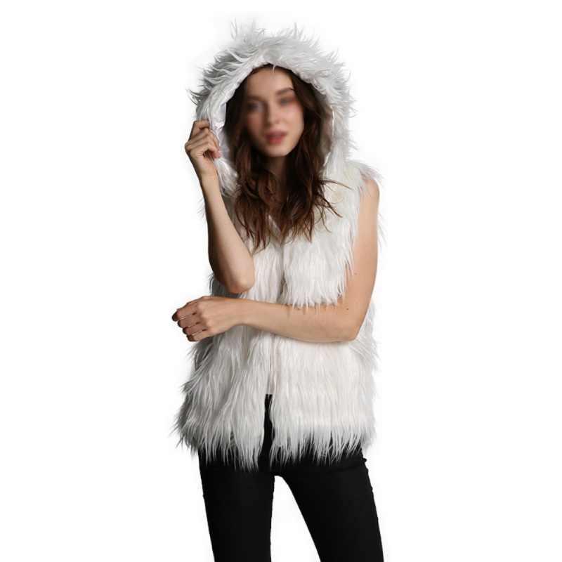 フェイクファーベスト女性秋冬コート無地フード付きノースリーブ暖かいジャケット黒フェイクファー生き抜く服