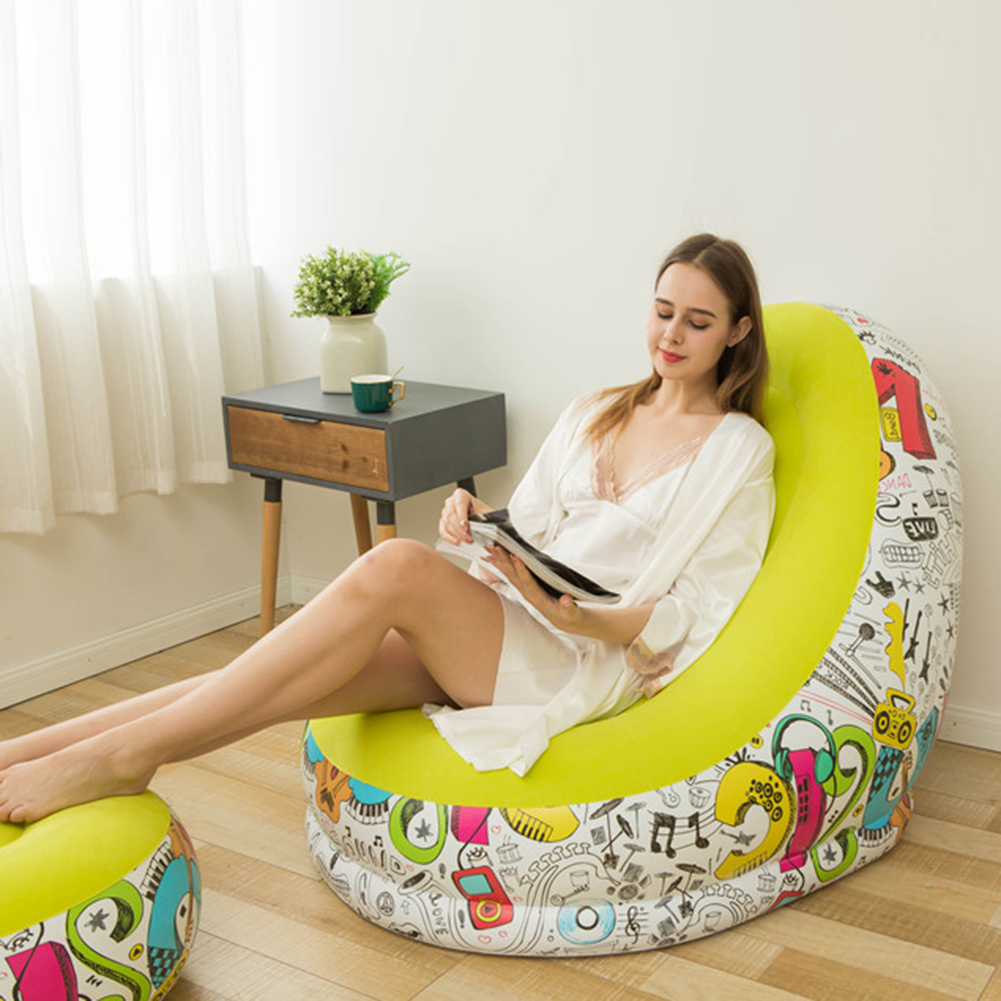 Portable Flocking Lounge Chair Stool Set Inflatable Lazy Sofa Stool Folding Sofa Chair For Indoor And Outdoor Travel And Camping