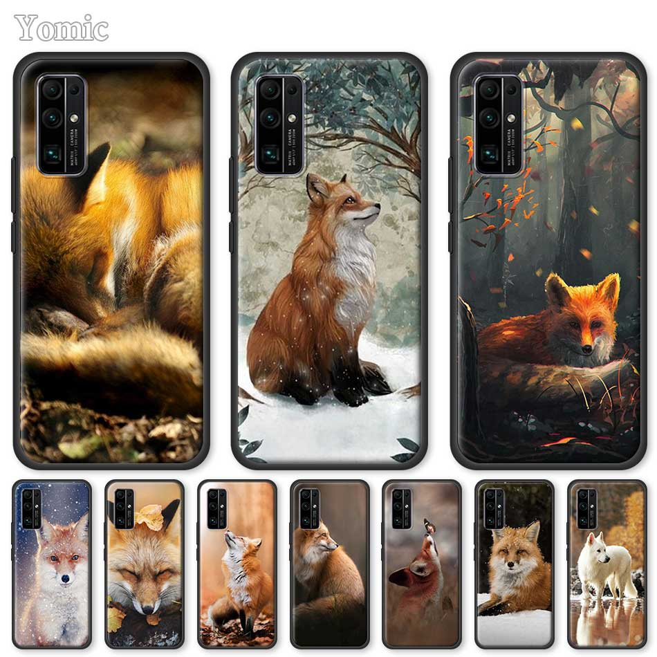 Soft Case For Huawei Honor 20 Pro 9C 9S 10X Max 8X 30 Play 9A Y6 Y9 Prime 2019 Mate 20 Lite Black Cover Lovely Cute Snow Fox