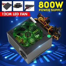 800W PCI SATA 110V-230V ATX 12V Gaming Alimentation PC 24Pin/Molex/Sata 12CM VENTILATEUR LED Ordinateur Alimentation Pour PC De Bureau