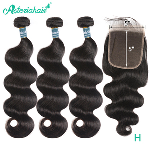Asteria Body Wave Bundles With 5x5 Lace Closure Brazilian Hair Weave 3 Bundles With Closure Natural Black Remy Hair Extension(China)