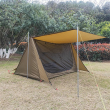 Outdoor camping tent. Tactical survival shelter. Pole-free ultra-light simple two-person A-type triangular outdoor camping tent double 20d silicon coated four seasons ultra light camping outdoor tent