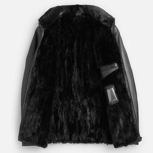 Image 3 - Good Mink Fur Lined Coat Men Winter Warm Casual Leather Sheepskin Jackets Top Quality Real Sheepskin Leather Outwear
