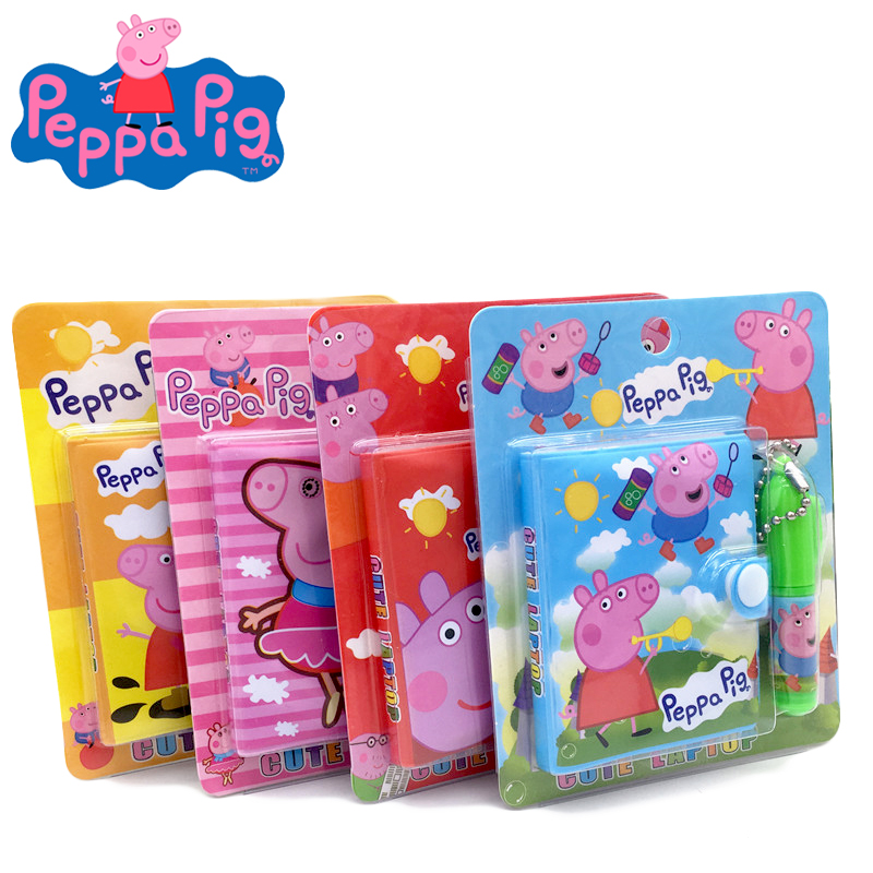 Cartoon Notebook Set Peppa Pig Easy To Carry Cute Anime Pattern Stationery Notebooks With Ballpoint Pen Kids Birthday Toy Gift