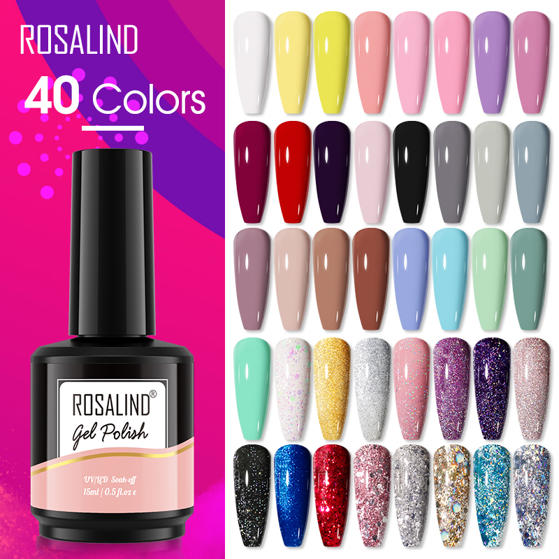 ROSALIND Gel Nail Polish 15ml 40 Colors Semi Permanent Manicure Nail Art Gel Varnishes Hybrid Base Top Coat For Gel Polish
