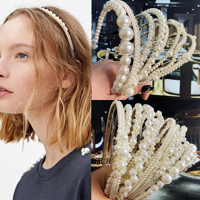 22 Styles Simulation Pearl Hairbands Women Hair Accessories Korean Handmade Bow Flower Hoops Headband Wedding Ornaments 2020 New 1