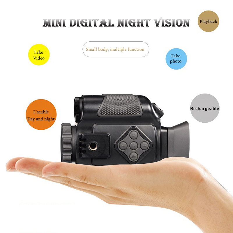 Mini Infrared Night Vision Monocular 5X Zoom Night Vision Goggles 200M Distance Night Watching Observation and Digital Ir Huntin|Sports & Action Video Camera| |  - title=