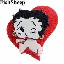 Fishsheep novo acrílico dos desenhos animados menina figura broches para as mulheres grande resina bonito ícone broche pinos emblemas acessórios de vestuário presentes