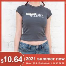 Carta de impressão sexy topo de colheita feminina verão manga curta cinza algodão camiseta o pescoço y2k topos casuais vintage gráfico t camisas 2021