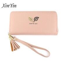 Simple versatilelong wallet women purses tassel fashion coin purse phone handbags new card holders zipper