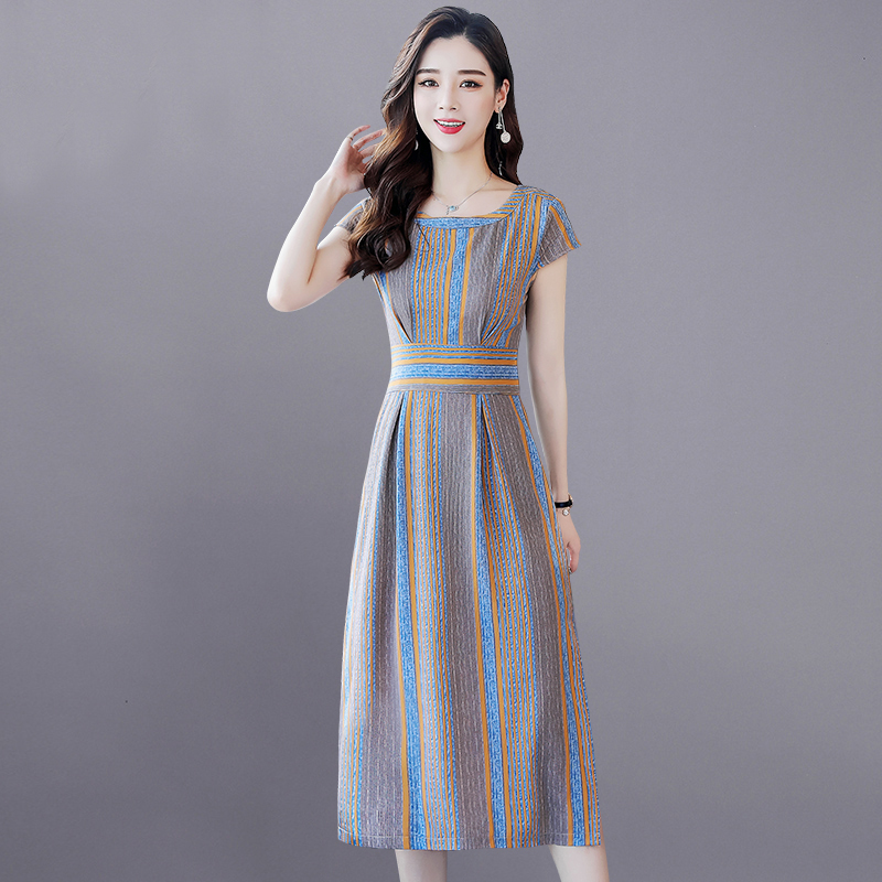 Casual Striped Summer Dress Fashion 2020 Women Dresses Short Sleeve Split Bohemian Dress Rk #E